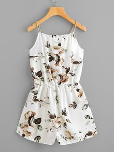 Ivory Overall Floral Print Self Tie Neck Cami Straps Sleeveless Romper