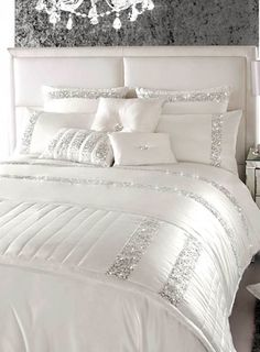 Kylie Minogue Safia Oyster Sequin Bedding - bedding sets - bedding sets - Bedding sets & sheets - Home, Lighting & Furniture- BHS Great glitzy bedding Glitter Bedroom, Glam Bedroom, Home Bedroom, Bedroom Ideas, Silver Bedroom Decor, White And Silver Bedroom, Bedroom Designs, Sparkly Bedroom, Chanel Bedroom