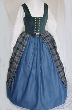 Renaissance scottish gowns dresses costumes tartan plaid Celtic Scotland dress