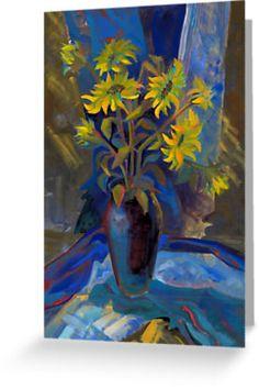 Sunflowers in dark-blue vase by farawayart