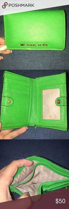 Michael Kors Green Wallet Green MK Wallet in fantastic condition. Michael Kors Bags Wallets