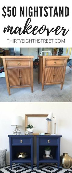 Budget Friendly Yard Sale Painted Nightstands Makeover Thirty Eighth Street Yard Furniture, Refurbished Furniture, Paint Furniture, Repurposed Furniture, Furniture Projects, Furniture Makeover, Cool Furniture, Modern Furniture, Furniture Design