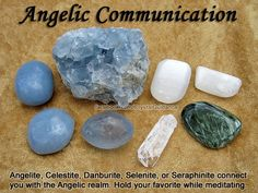 Angelite, Celestite, Danburite, Selenite, or Seraphinite. Angelic communication is associated with the Throat and Crown chakras. Hold your preferred crystal during meditation and hold the intent of connecing with your angels. Crystal Uses, Crystal Healing Stones, Crystal Magic, Crystals And Gemstones, Stones And Crystals, Gem Stones, Crystal Meanings, Chakras, Book Of Shadows
