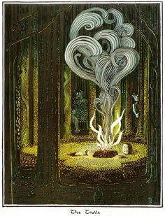 "J.R.R. Tolkien - illustration for The Hobbit Tolkien's own illustrations for his book The Hobbit. ""The Trolls."""