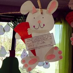 Rabbit craft for kindergarten - other rabbit crafts and ideas also shared on this blog