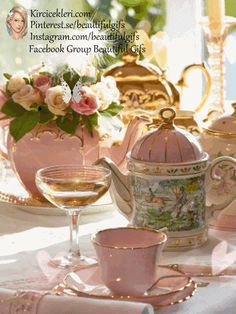 Tea Party Table, Gifs, Good Morning Gif, Animation, Coffee Love, Color Themes, Afternoon Tea, Cup And Saucer, Pink And Green