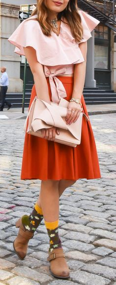 3f5685a85e7eb Fall Colors  Orange Skirt   Pink Bow Top