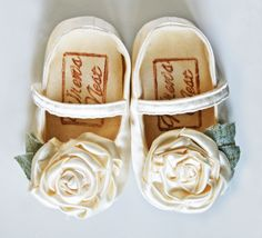 White Satin Mary Jane for girls baby shoes by WrensNestBabyShoes, $36.00