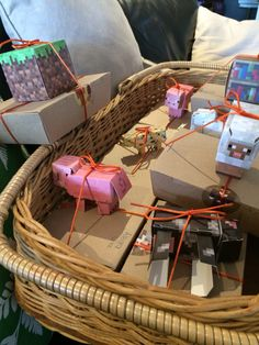 "Minecraft lolly boxes with ""papercraft"" figures tied on."