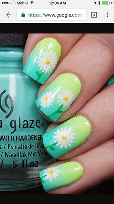 nail art designs braid fashion makeup A very pretty spring nail art design. Starting with a green gradient base color, white flower details are then painted on top. This creates a warm and vibrant vibe for your nails. Green Nail Art, Floral Nail Art, Green Nails, Green Art, Colorful Nail Art, Spring Nail Art, Nail Designs Spring, Gel Nail Designs, Nails Design