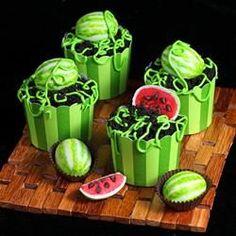 Watermelon Cake Ball Cupcakes