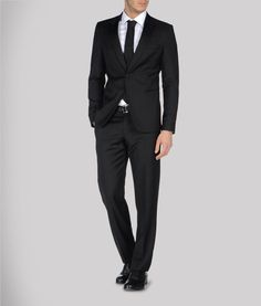 Satin, Wool voile, Button, zipper, Button closing, Three pockets, Lined interior, Belt loops, Four pockets. Emporio Armani Mens Suit