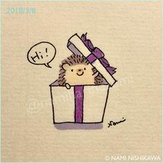 1435 箱の中から The hedgehog comes out from a box. #illustration #hedgehog #イラスト #ハリネズミ #なみはりねずみ