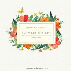 Acuarela flores y pájaros de fondo