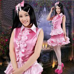 Cute Pink Sleeveless Ruffle Vocaloid Cosplay Dress Suit Clothing Women SKU-131444