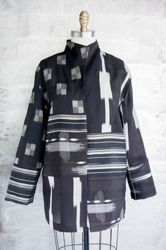 Long Necco Jacket In Black and White Sheers