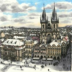 Maxwell Tilse (@maxwellillustration) в Instagram: «Prague, in all its Wintery glory. It's been a while since I posted. I have some new bigger drawings…» #sketch #sketching #traveling #town #city #markers #marker #cafe #art #paint #painting #flowers #drawing #draw #illustration #architecture #inspired  #inspiration
