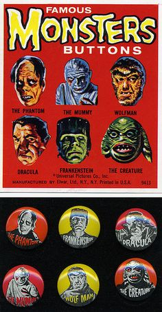 Famous Monsters Buttons by grickily, via Flickr