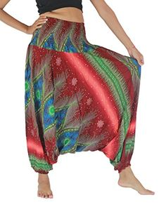 NaLuck Women's Bohemian Hobo Boho Hippie Peacock Print Smocked Jumpsuit Waist Yoga Harem Pants PH04-Redmixorange. High quality and durable - Premium ladies baggy trousers are completely handmade using the best quality Rayon fabric 100%. Extremely comfortable & light weighted - Due to the light weight of the material and hobo style legs, the harem pants can be worn with superb comfort. 2 in 1 Jumpsuit and Pants ,Multiple uses - Wear the stylish pants wherever you want to- be it a ladies day…