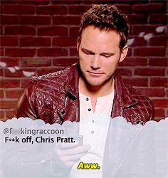 Celebrities read mean tweets. Chris Pratt.