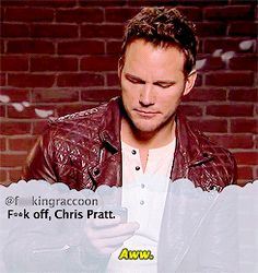 Celebrities read mean tweets. Chris Pratt.