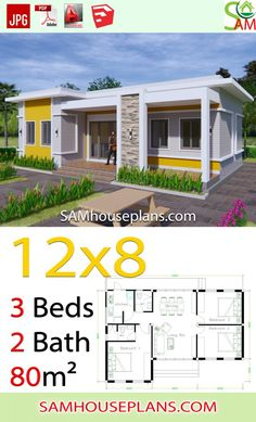House Plans with 3 Bedrooms Terrace roof - Sam House Plans Loft House Design, Village House Design, Home Building Design, Small House Design, Home Building Plans, Bungalow Floor Plans, Modern Bungalow House, Modern House Facades, Sims House Plans