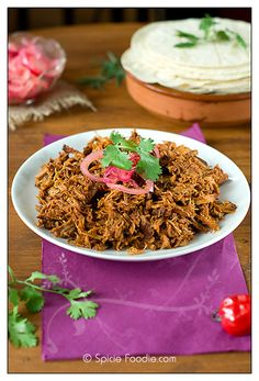 Chochinita Pibil; Tacos; Pork; spiced pork; recipe; mild Mexican recipes; Mexican; food; easy; slow roasted; Pickled Red Onions salsa; red onion; simple; easy; corn tortillas; Spicie Foodie; orange; achiote; achiote paste