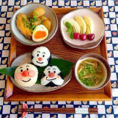 anpanman breakfast Kawaii Bento, Cute Bento, Bento Box Lunch, Lunch Snacks, Bento Recipes, Baby Food Recipes, Cute Food, Yummy Food, Decadent Food
