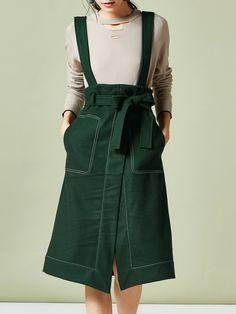 #AdoreWe #StyleWe JAFA Dark Green Spaghetti Slit Midi Skirt - AdoreWe.com