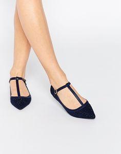 Oasis T Bar Point Sparkle Flat Shoe