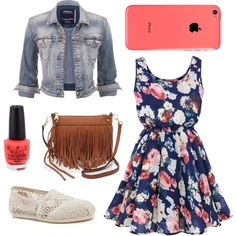 Cute summery outfit. Ditch the purse and swap the shoes for eyelet flats, maybe wedges?