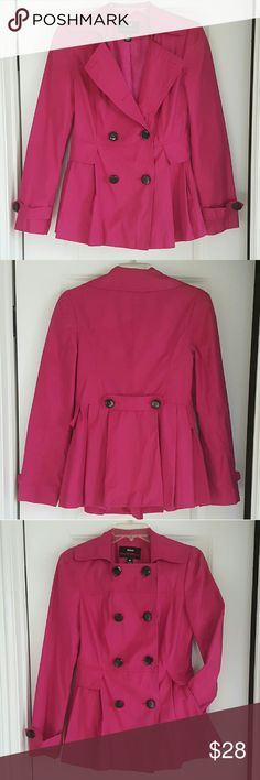 MISS SIXTY M60 Peacoat Gorgeous lightweight dark pink/fuschia jacket by Miss Sixty. Double breasted can be worn buttoned all the way up, halfway or open, whatever fits your style! On the back, it's cinched at the waist to flatter your figure. Worn a few times. Excellent condition  Shell: 57% Cotton 43% Polyester Lining: 100% Polyester   Thanks for looking & Happy Poshing! Miss Sixty Jackets & Coats Pea Coats