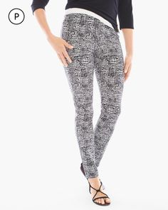 Chico's Women's Travelers Collection Petite Abstract Slim-Fit Pants