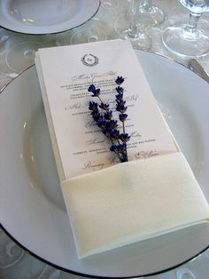 sprig of lavender tucked into the napkin - nice if we did lavender bouquets
