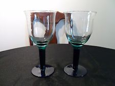 Set of 2 Large Hand Blown Emerald Green & Blue Wine Glass Goblets