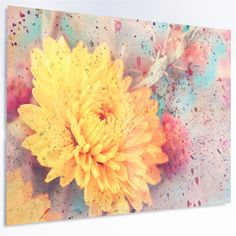 """DesignArt 'Aster Flower with Watercolor Splashes' Graphic Art on Metal Size: 40"""" H x 48"""" W x 1"""" D"""