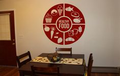 Wall Decal Room Sticker healthy food stamp quote healthy life style art bo3009 by RoomDecalsAndDesigns on Etsy