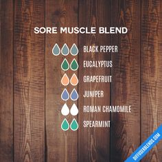 Sore Muscle Blend — Essential Oil Diffuser Blend Essential Oils Muscle Relaxer, Essential Oils Sore Muscles, Essential Oils For Massage, Essential Oils Guide, Doterra Essential Oils, Young Living Essential Oils, Essential Oil Diffuser Blends, Massage Oil, Diffuser Recipes