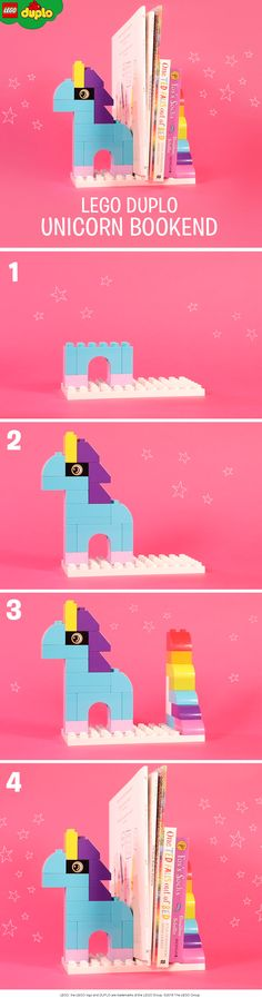 Magical LEGO DUPLO unicorn bookends like these would be perfect bedroom accessory for your book-loving pre-schooler. You could build your own with just a handful of LEGO DUPLO bricks.