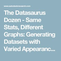The Datasaurus Dozen - Same Stats, Different Graphs: Generating Datasets with Varied Appearance and Identical Statistics through Simulated Annealing | Autodesk Research