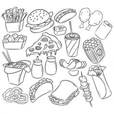 Doodle Art Drawing, Food Drawing, Pencil Art Drawings, Art Drawings Sketches, Cute Drawings, Food Doodles, Cute Doodles, Colouring Pages, Coloring Book Pages