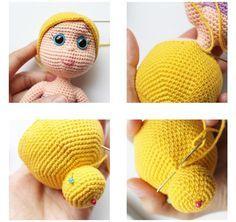 Как сделать волосы для вязаной крючком куклы мастер класс