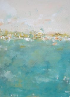 Abstract Cityscape Original Painting Teal Sea City by lindadonohue, $650.00