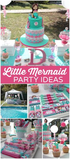 You have to see this pink and teal mermaid party! See more party ideas… Mermaid Theme Birthday, Little Mermaid Birthday, Little Mermaid Parties, The Little Mermaid, Girl Birthday, Lila Party, 4th Birthday Parties, Birthday Ideas, Mermaid Cakes
