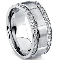 Titanium CZ Wedding Band Mens Ring 9MM With