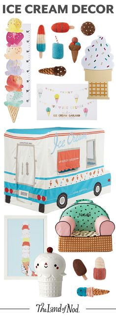 Sweet, vibrant and filled with an array of bright colors, these ice cream-themed decor will liven up your home. We have a feeling any kid will love the wall art, growth chart, playhouse and toys. Ice Cream Theme, Ice Cream Parlor, Ice Cream Decorations, Ice Cream Social, Shops, In Kindergarten, Party Themes, Party Ideas, 2nd Birthday