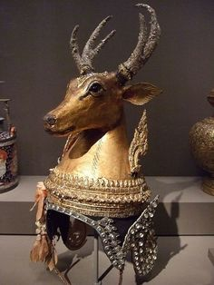 Theatrical headdress for the magical deer in the Ramayana dance-drama Papier-mache glass and mixed media CE Thailand 1 Stag Deer, Oh Deer, Cambodian Art, Asian Art Museum, Thai Art, Ancient Jewelry, Snow Queen, Ancient History, Headdress