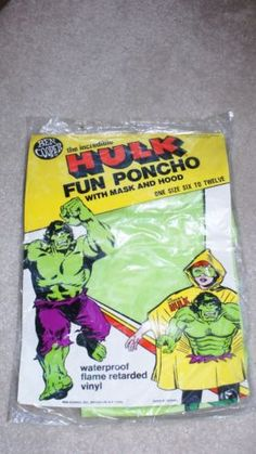Vintage Ben Cooper Incredible Hulk Halloween Poncho and Mask | eBay