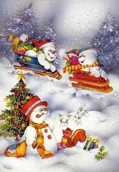 Christmas Scenes, Christmas Love, Christmas Pictures, Christmas Snowman, Winter Christmas, Vintage Christmas, Christmas Crafts, Snowman Images, Decoupage