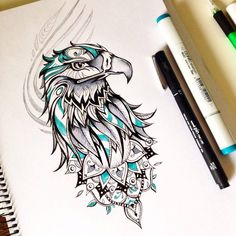 You wanna an eagle tattoo and you can not decide which one you should? We picked the best 50 eagle tattoo designs, look and inspire wi. Silhouette Tattoos, Tattoo Designs And Meanings, Tattoo Designs Men, Bird Drawings, Drawing Sketches, Cute Tattoos, Tattoos For Guys, Eagle Wing Tattoos, Tattoo Eagle